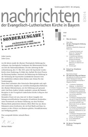 Cover des Buches Dieter Breit / Nora Andrea Schulze: SONDERAUSGABE anlässlich 80 Jahre Barmer Theologische Erklärung