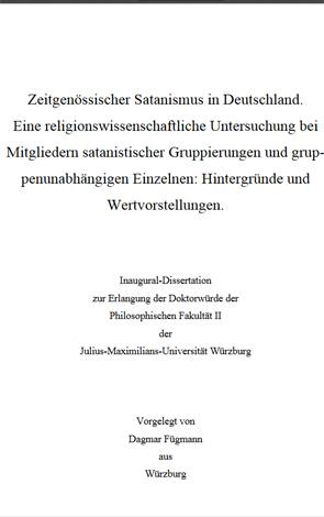 Cover des Buches Dagmar Fügmann: Zeitgenössischer Satanismus in Deutschland. Eine religionswissenschaftliche Untersuchung bei Mitgliedern satanistischer Gruppierungen und gruppenunabhängigen Einzelnen: Hintergründe und Wertvorstellungen.